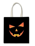 Scary Spooky Halloween Pumpkin Face Halloween Trick Or Treat Polyester White Tote Bag 15x16x 3.5