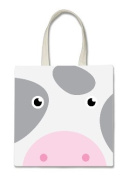 Moo Farm Cow Cute Face Halloween Trick Or Treat Polyester White Tote Bag 15x16x 3.5