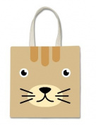 Cat Lover Kitten Kitty Whiskers Cute Face Halloween Trick Or Treat Polyester White Tote Bag 15x16x 3.5