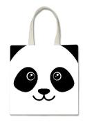 Panda Bear Face Cute Halloween Trick Or Treat Polyester White Tote Bag 15x16x 3.5