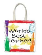 Worlds Best Teacher Crayon Art Halloween Trick Or Treat Polyester White Tote Bag 15x16x 3.5