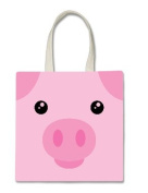 Pig Piggy Piglet Cute Face Halloween Trick Or Treat Polyester White Tote Bag 15x16x 3.5