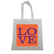 Purple and Orange LOVE Clemson Tigers Halloween Trick Or Treat Polyester White Tote Bag 15x16x 3.5
