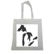 Great Lakes Michigan Outline Halloween Trick Or Treat Polyester White Tote Bag 15x16x 3.5