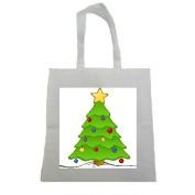 Cute Cartoon Christmas Tree Halloween Trick Or Treat Polyester White Tote Bag 15x16x 3.5