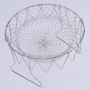 ZYXY Deep Fry French Chef Basket, Foldable Steam Rinse Stainless Steel Strainer Net Basket for Kitchen Cooking