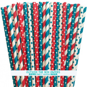 Red, Teal and White Dr. Seuss Theme Paper Straws 125 Pack