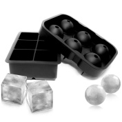 BESTOMZ 2pcs Silicone Ice Cube Trays Ice Ball Maker Ice Cube Mould for Bars Kitchens Beverage Liquid