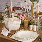 Korkmaz Bone Sel 34 pcs. Dinner set (Square) Yemek Takimi Porcelain Tea Sets, Multi Colour, 38 x 38 x 38 cm – Units