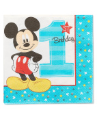 Mickey Mouse 1st Birthday Party Lunch Napkins, 16ct