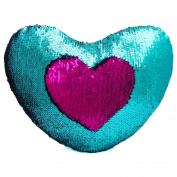 Mermaid Throw Pillow with Insert , Play Tailor Reversible Sequins Pillow Heart Shape Decorative Cushion