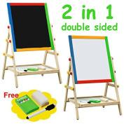 Kids Drawing Board Adjustable Height Chalk Board Fun Standing Easel Erase 2 In 1 + eBook