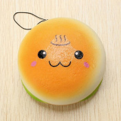 Vacuum Toy Simulation Cute Hot Spring Bread Burger.,xing & zi 10cm Squishy Hamburger Toy Lovely Bread Bun Cellphone Bag Strap Pendant Charms