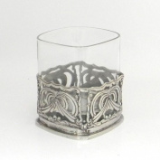 Bicchiere Da Whisky in vetro Soffiato E Peltro Stile Liberty Made in Italy