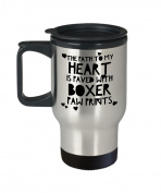 Boxer Dog Travel Mug - The Path To My Heart Is Paved with Paw Prints- Gift for Animal Lover - 410ml Stainless Steel Coffee Cup