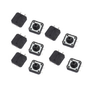 sourcingmap 10Pcs 12mmx12mmx7.3mm Panel PCB Momentary Tactile Tact Square Black Push Button Switch 4 Terminals