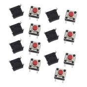sourcingmap 15Pcs 6mmx6mmx5mm Panel PCB Momentary Tactile Tact Push Button Switch 4 Terminals