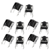 sourcingmap 10 Pcs 6mmx6mmx6mm Panel PCB Momentary Tactile Tact Push Button Switch 2 Terminals