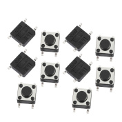 sourcingmap 10 Pcs 6mmx6mmx4.3mm Panel PCB Mount Momentary Tactile Tact Push Button Switch 4 Terminals