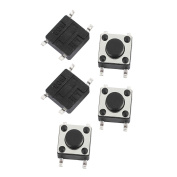 sourcingmap 5Pcs 6mmx6mmx4.3mm Panel PCB Momentary Tactile Tact Push Button Switch 4 Terminals