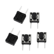 sourcingmap 5 Pcs 6mmx6mmx4.3mm Panel PCB Momentary Tactile Tact Push Button Switch 2Terminals