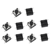 sourcingmap 10Pcs 6mmx6mmx5mm Panel PCB Momentary Tactile Tact Push Button Switch Micro Switch 4 Terminals
