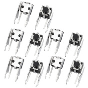 sourcingmap 10 Pcs 6mmx6mm Panel PCB Momentary Tactile Tact Push Button Switch 2 Terminals