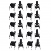 sourcingmap 20 Pcs 6mmx6mmx11mm Panel PCB Momentary Tactile Tact Push Button Switch 4 Terminals