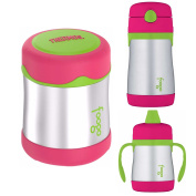 Thermos Foogo 300ml Insulated Food Jar, Straw Drink Bottle & 210ml Sippy Cup - Watermelon Green