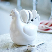 Country Style White Ceramic Hen Measuring Spoon Set by Gisela Graham