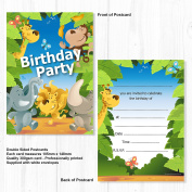 Jungle Animal Birthday Party Invitations - Ready to Write with Envelopes
