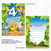 4th Birthday Party Jungle Themed Animal Invitations - Ready to Write with Envelopes