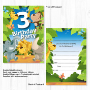 3rd Birthday Party Jungle Themed Animal Invitations - Ready to Write with Envelopes