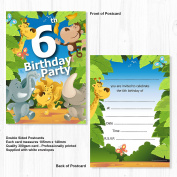 6th Birthday Party Jungle Themed Animal Invitations - Ready to Write with Envelopes