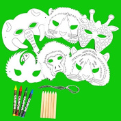 6 Plain Card Colour-in Jungle Animal Childrens Masks with Pencils & Crayons