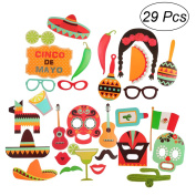 BESTOYARD Photo Booth Props Fiesta Cinco De Mayo Mexican Carnival Souvenirs for Wedding Birthday Party Favours Pack 29pcs