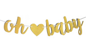 Fecedy Gold Glittery Letters OH BABY With Heart Banner for Baby shower