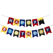 Happium - Superhero Happy Birthday Bunting Banner