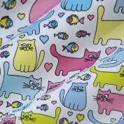 White Polycotton Fabric with Colourful Cats and Fishes