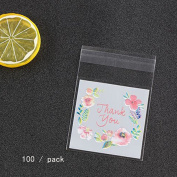 Candy Cookie Bags, Woopower 100Pcs/bag Plastic Packing Bags Flower Pattern Self-adhesive Bag Gift Packing Bags Sample Package Cover