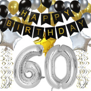KUNGYO Classy 60TH Birthday Party Decorations Kit-Black Happy Brithday Banner,Silver 60 Mylar Foil Balloon, Star & Latex Balloon,Hanging Swirls, Perfect Sixty Years Old Party Supplies
