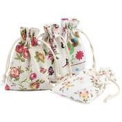 NALER 20pcs Linen Jute Sack Drawstring Gift Bags Pouches Favour Jewellery Pouches Vintage Party Storage Wrap Daisy Flower 9.5cm x 13cm