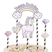 AAA226 Cute Cartoon Unicorn Cake Toppers Happy Birthday Party Decor for Kids Baby