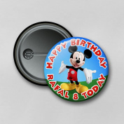 Disney Mickey Mouse (5.8cm) Personalised Pin Badge Printed in Hi-RES Photo Quality