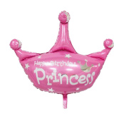 JuneJour 1Pc Helium Foil Balloons Reusable Princess Prince Crown Balloons for Christmas Birthday Wedding Celebration Party Decoration Pink