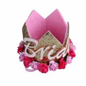 iiniim Infant Baby Toddlers Princess ONE/Bride Birthday Party Flower Crown Hat Tiara Headband
