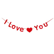 LUOEM Wedding Bunting Banner Garland Red Love Heart I Love You Hanging Decoration