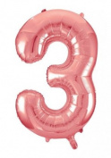Rose Gold Giant Number 3 Balloon Decorations Party Celebration Gifts Accessories