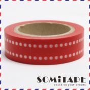 Red And White Lined Polkadot Line Washi Tape, Craft Decorative Tape