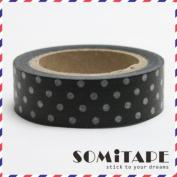 Black With White Polkadot Washi Tape, Craft Decorative Tape